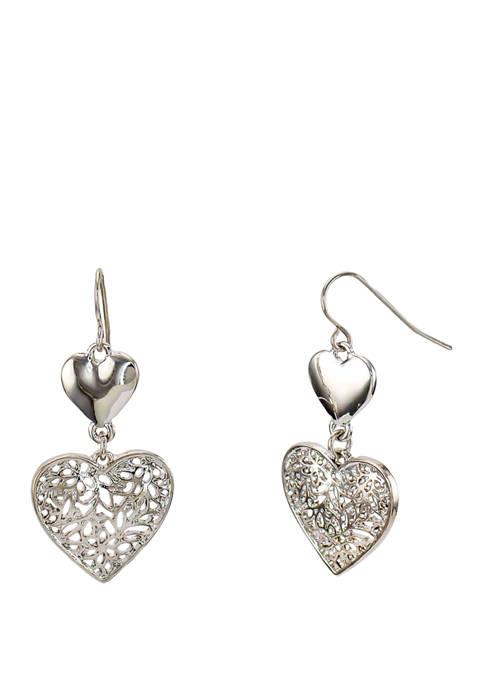 Kim Rogers® Silver Double Heart Drop Earrings