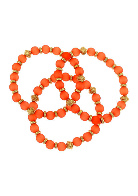 Kim Rogers® Gold Tone 3 Row Coral Beaded