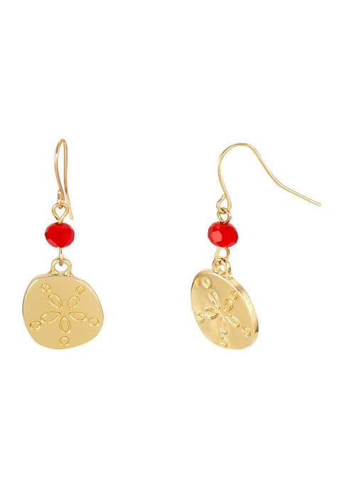 Gold Tone Sand Dollar with Coral Bead Accent Drop Earrings on French Wire