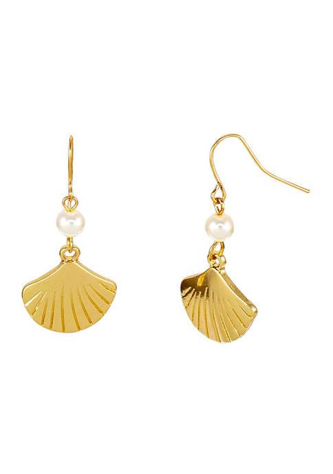 Kim Rogers® Gold Tone Pearl and Seashell Drop