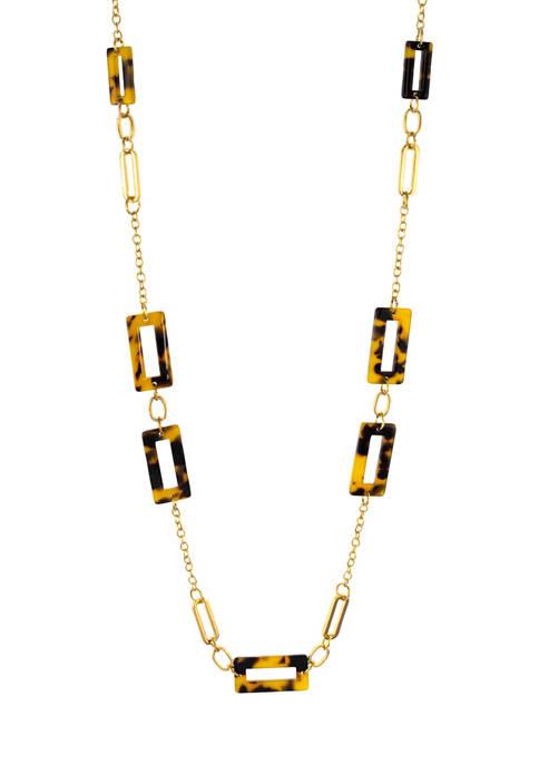 Kim Rogers® Open Rectangle Tortoise Link Long Necklace