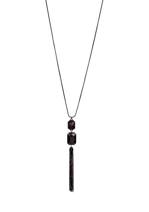 Kim Rogers® Long Jet Black Double Rectangle Tassel