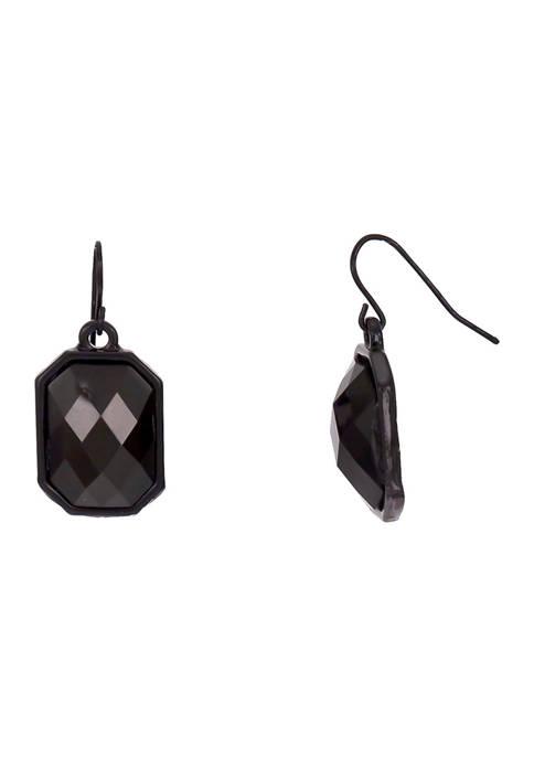 Single Rectangle Jet Black Drop Earrings