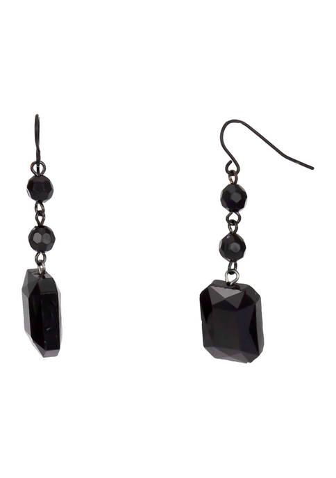 Jet Black Linear Triple Drop Earrings