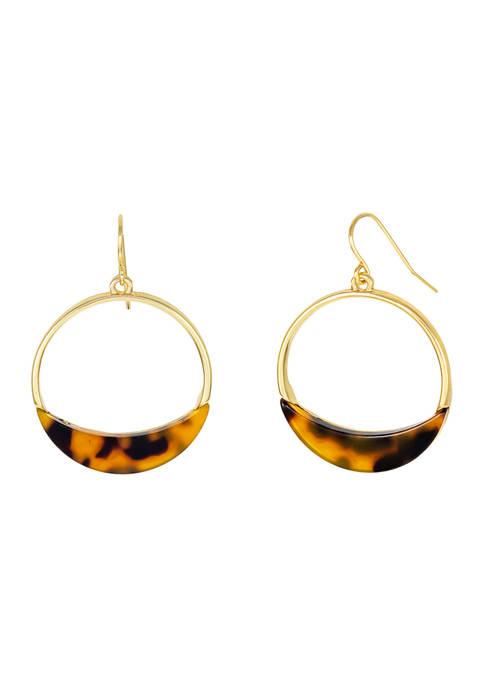 Kim Rogers® Small Tortoiseshell Gold-Tone Gypsy Hoop Earrings