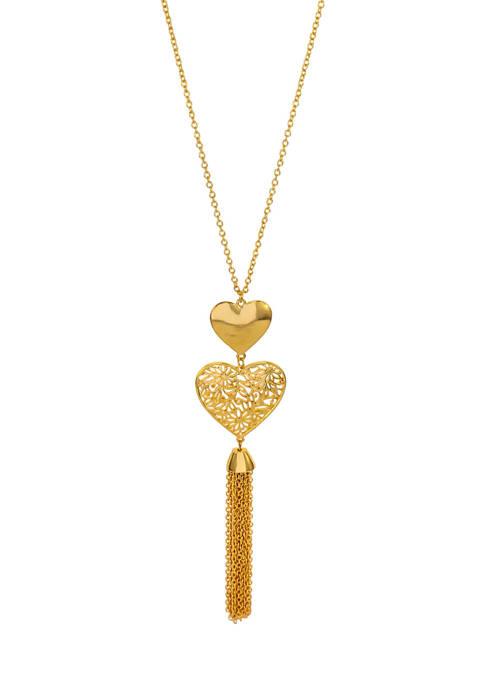 Kim Rogers® Gold-Tone Tassel Double Heart Necklace