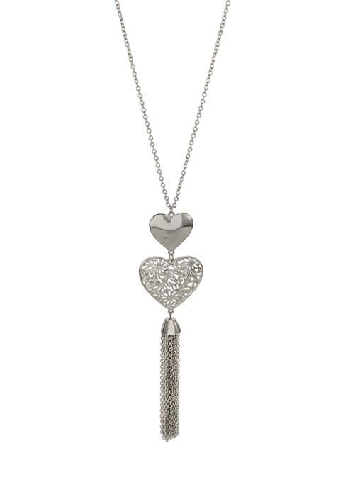 Kim Rogers® Silver Long Double Heart Tassel Necklace