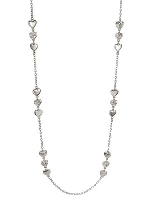 Kim Rogers® Long Triple Heart Silver-Tone Necklace