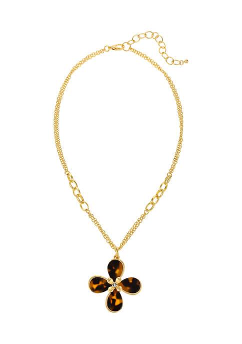 Kim Rogers® Short Tortoiseshell Flower Gold-Tone Pendant Necklace