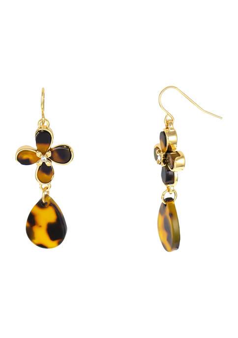 Gold-Tone Tortoise Flower and Teardrop Earrings on Fish Hook