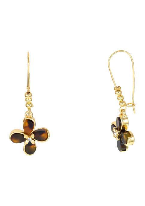 Gold Tone Tortoise Flower Earrings