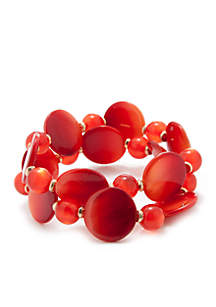 Coral Shelling Collection Two Row Stretch Bracelet