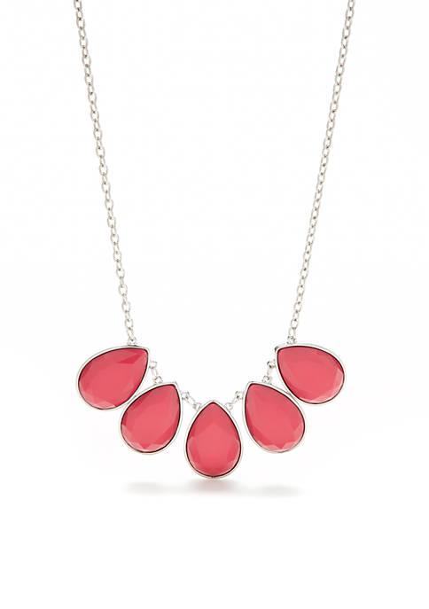Kim Rogers® Silver-Tone Color Items Teardrop Stones Statement