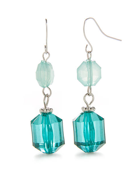 Kim Rogers® Silver-Tone Double Bead Drop Earrings
