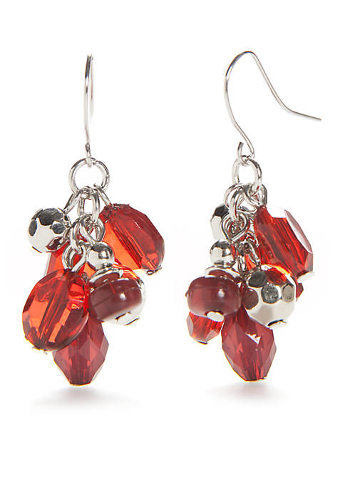 Kim Rogers® Silver-Tone Holiday Beads Cluster Drop Earrings