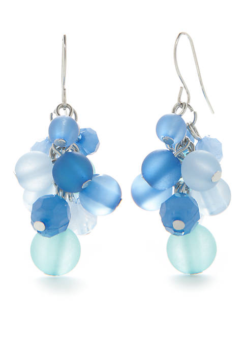 Kim Rogers® Silver-Tone Blue Shaky Cluster Earrings