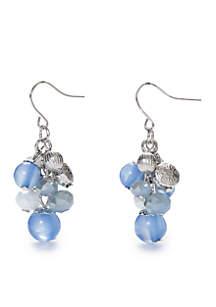 Blue Cluster Drop Earrings
