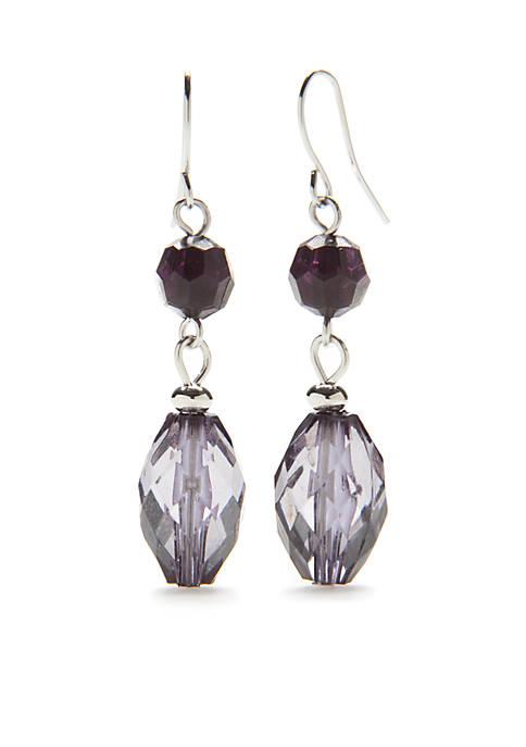 Kim Rogers® Silver-Tone Multi Double Bead Drop Earrings