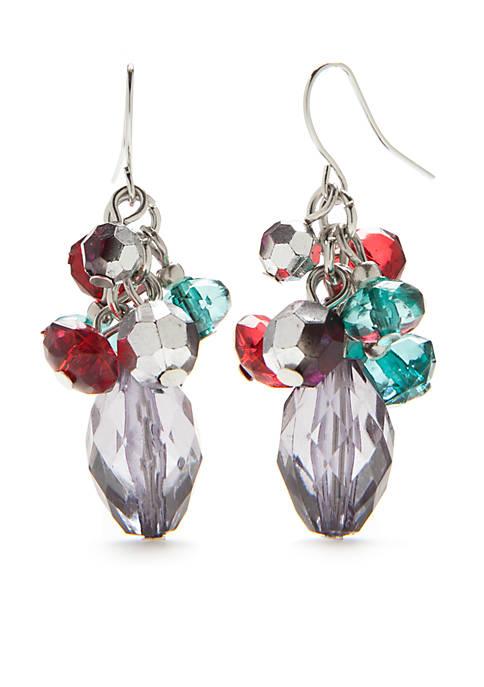 Kim Rogers® Silver-Tone Multi Bead Cluster Drop Earrings