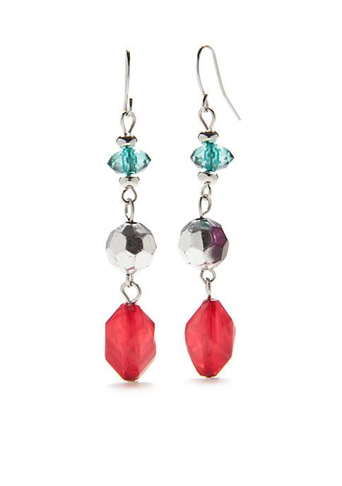 Kim Rogers® Silver-Tone Multi Triple Bead Drop Earrings