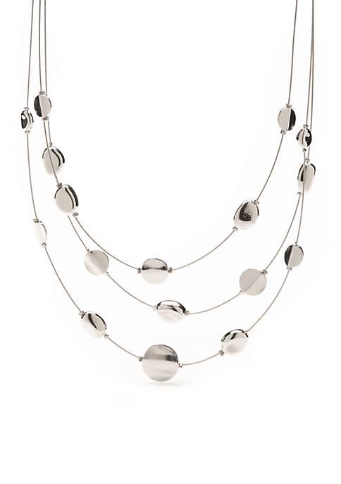 Silver-Tone Three Row Illusion Necklace