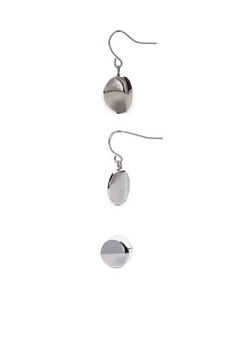 Set of 3 Button 2-Drop Earrings