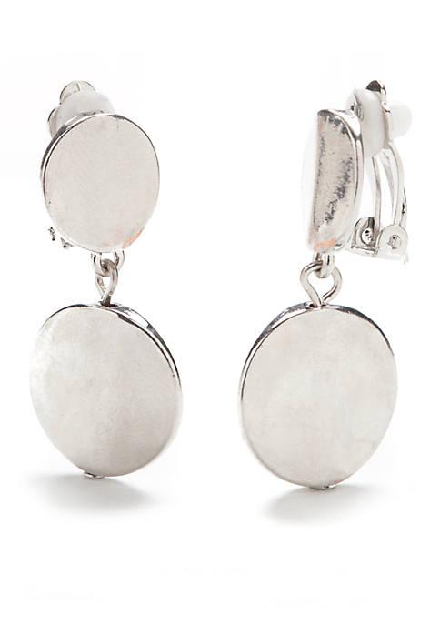 Kim Rogers® Silver-Tone Double Disc Drop Earrings