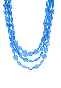 Silver-Tone Blue 4-Row Beaded Necklace