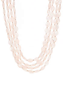 4-Row Short Pink Beaded Necklace