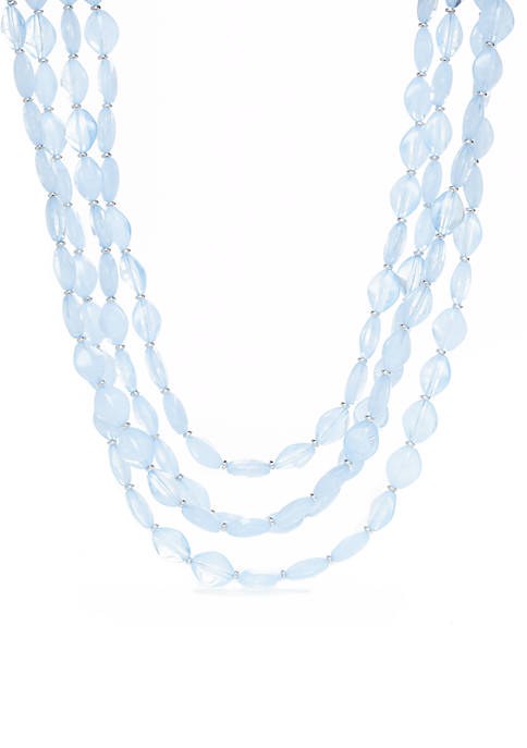 Kim Rogers® Baby Blue Four-Row Beaded Necklace
