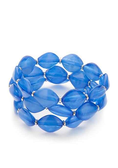 Kim Rogers® Silver-Tone Three Row Bead Stretch Bracelet