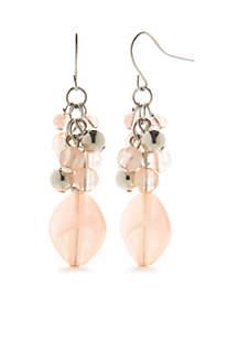Silver-Tone Coastal Blues Cluster Drop Earrings