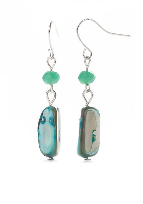 Kim Rogers® Silver-Tone Shell Double Drop Earrings