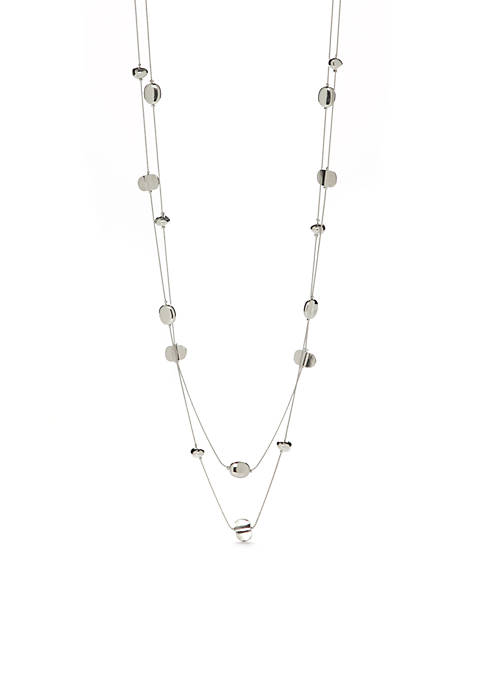 Kim Rogers® Long Silver Two Row Illusion Necklace