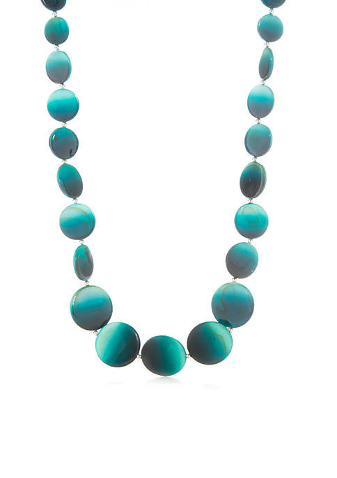 Kim Rogers® Silver-Tone Teal Ombre Shell Disc Necklace