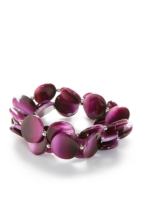 Kim Rogers® Silver-Tone Berry Ombre Shell Stretch Bracelet