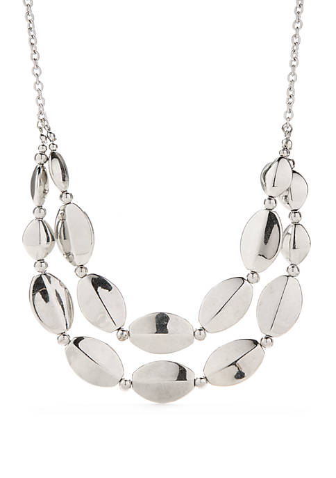 Silver-Tone 2 Row Oval Bead Frontal Necklace