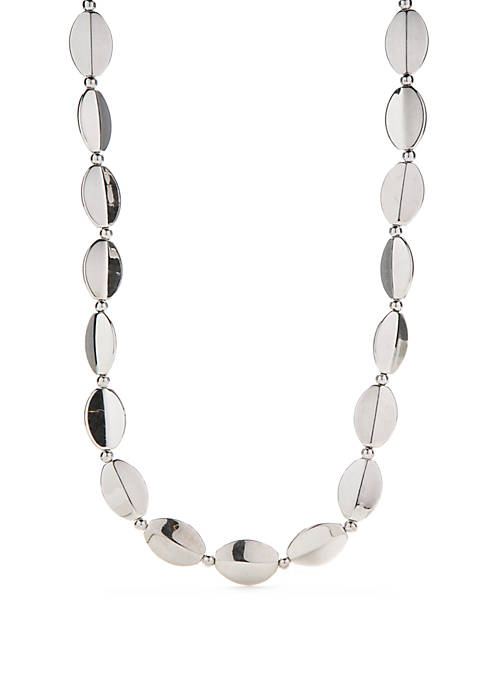 Silver-Tone Long Oval Bead Necklace