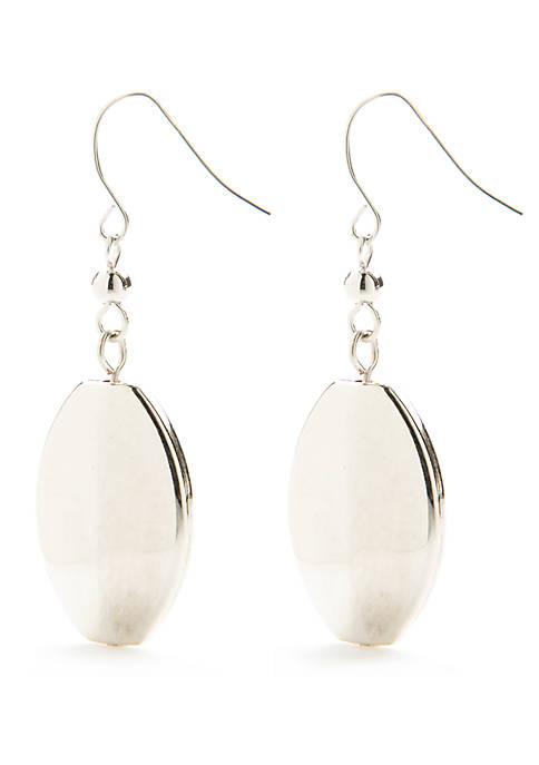 Kim Rogers® Silver-Tone Oval Bead Drop Earrings
