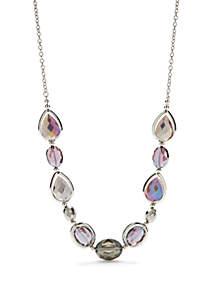 Silver-Tone Amethyst Single Row Necklace