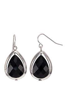 Teardrop Framed Stone Earrings