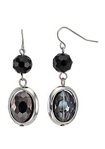 Round and Oval Framed Double Drop Earrings