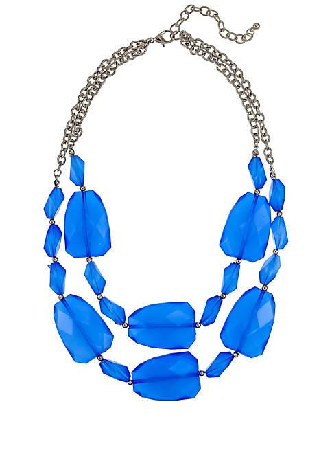 Silver Tone Short 2 Row Bold Bead Necklace