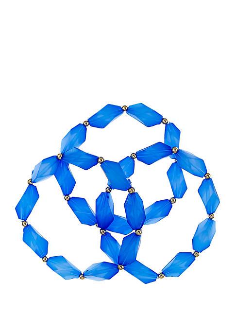 3 Row Beaded Stretch Bracelet Set