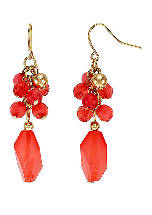 Gold Tone Coral Cluster Bead Drop Earrings