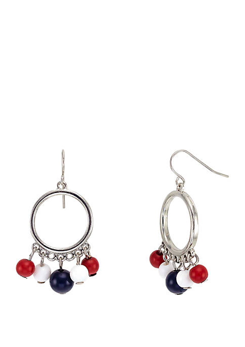 Silver Tone Earrings With Bead Drops