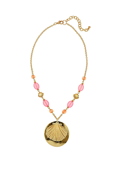 Gold Tone Shell Pendant Necklace