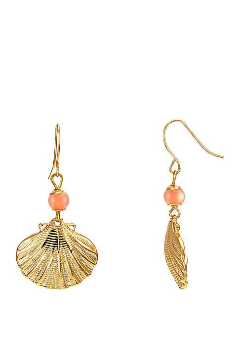 Gold Tone Shell Drop Earrings