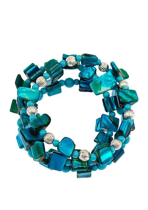 Kim Rogers® 3 Row Shell Chip Stretch Bracelet