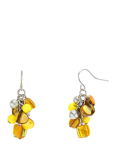 Kim Rogers® Shell Chip Cluster Drop Earrings